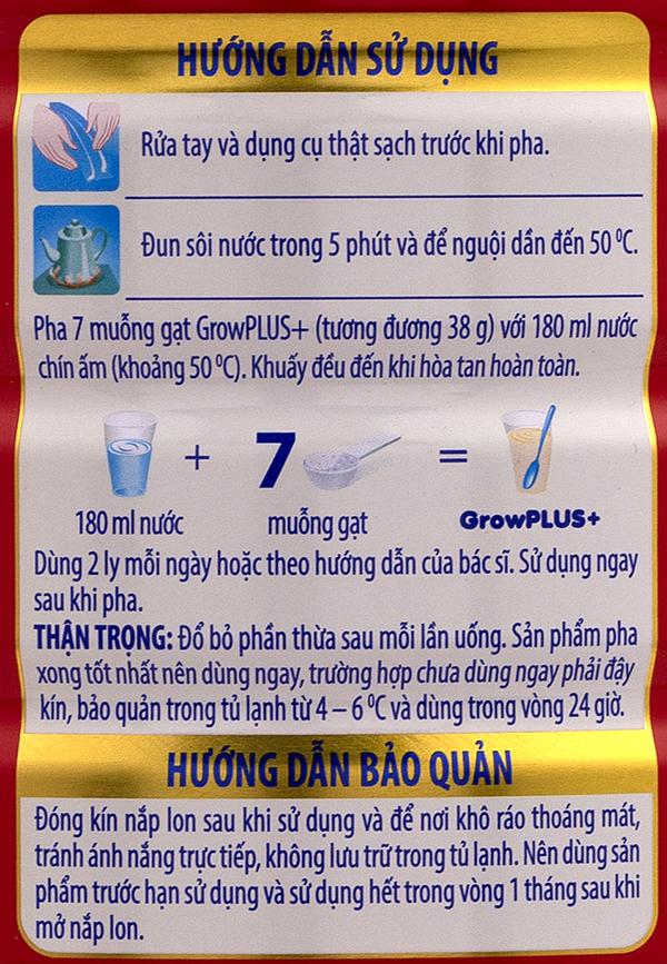 Hướng dẫn cách pha sữa grow plus đỏ 1,5kg