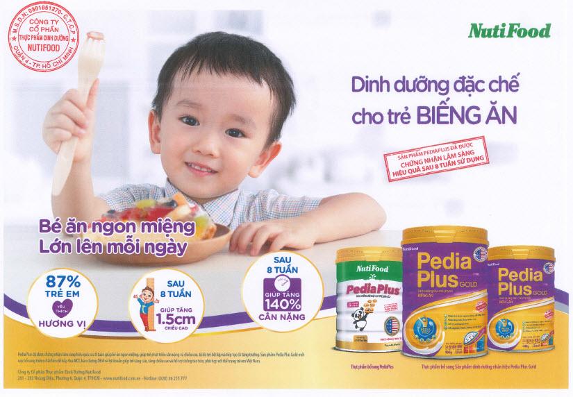 Sữa Pedia Plus Gold giúp bé tăng cân hiệu quả chỉ sau 8 tuần sử dụng