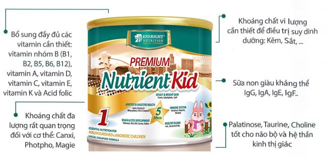 Sữa Premium Nutrientkid 1 bổ sung năng lượng cho trẻ suy dinh dưỡng