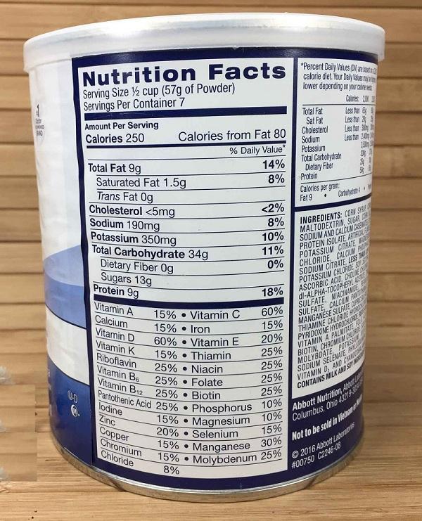 Thành phần dinh dưỡng Sữa Ensure Mỹ 297g