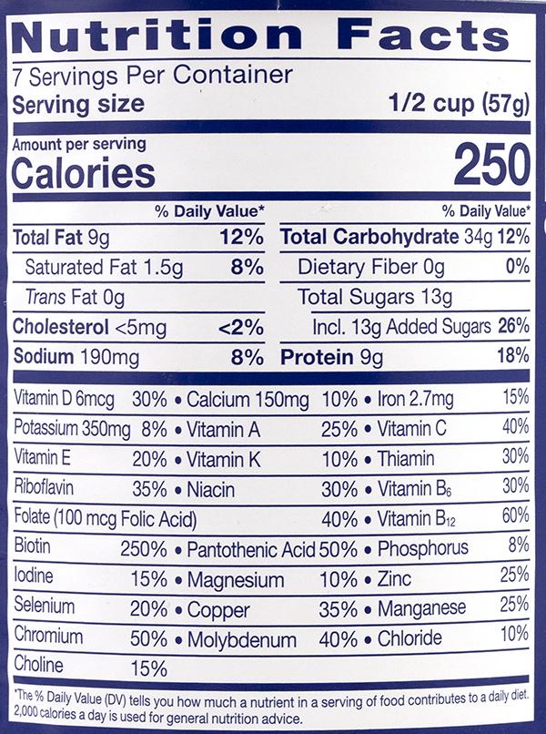 Thành phần dinh dưỡng sữa ensure mỹ