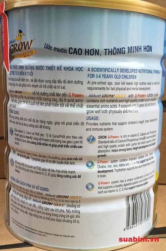 thành phần dinh dưỡng Sữa Abbott grow gold 3+