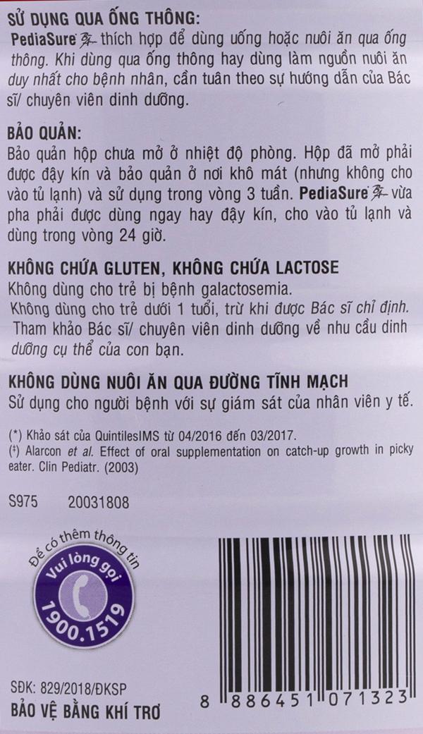 Đối tượng sử dụng sữa pediasure ba