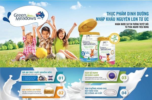 Sữa green meadows nhập khẩu nguyên lon từ úc