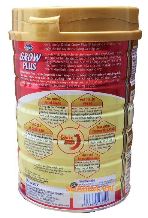 thông tin dinh dưỡng dielac grow plus 1+ 900g