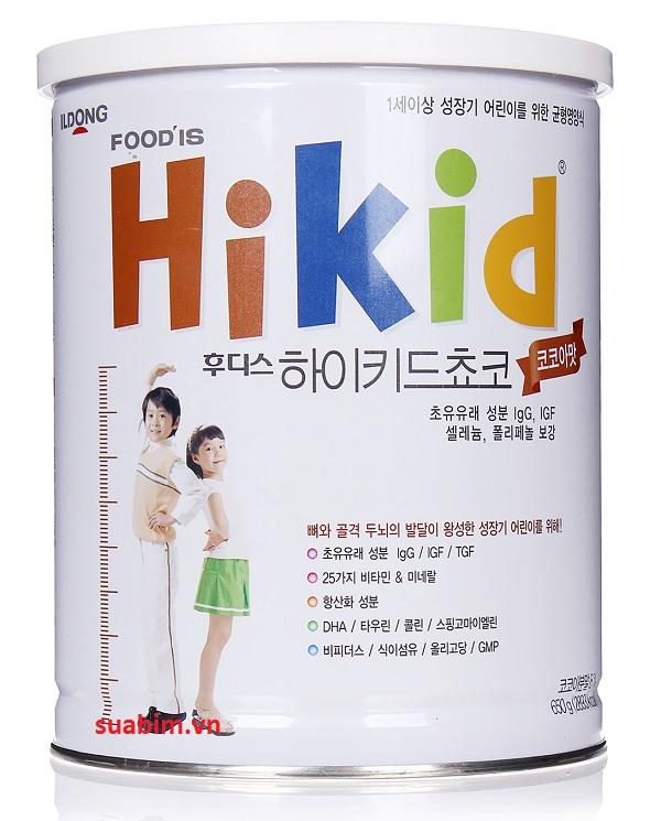 Sữa Hikid Socola 600g vị socola, vị ngọt hơn sữa Hikid vani, tăng cân và tăng cả chiều cao