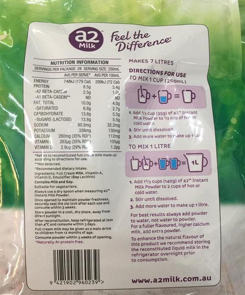 Thành phần dinh dưỡng sữa A2 của úc
