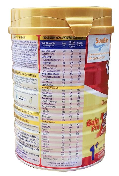 thành phần dinh dưỡng sữa dielac grow plus 1+