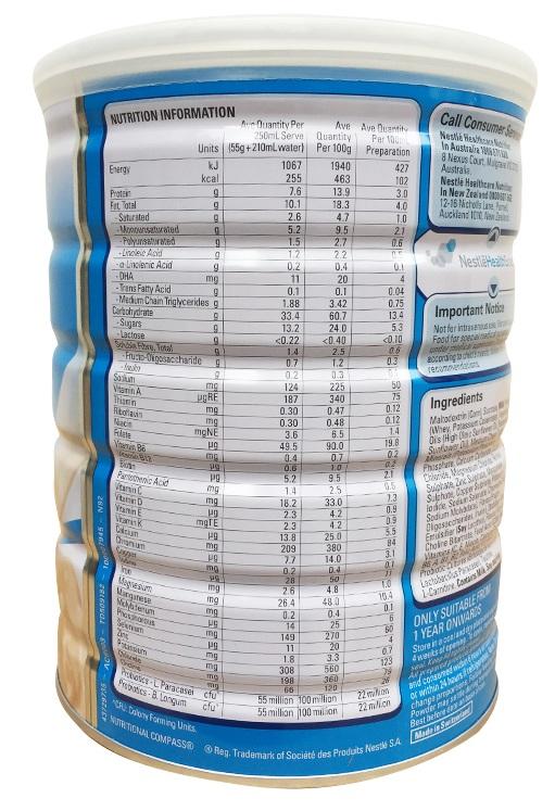 Thành phần dinh dưỡng Sữa Kid Essentials 800g