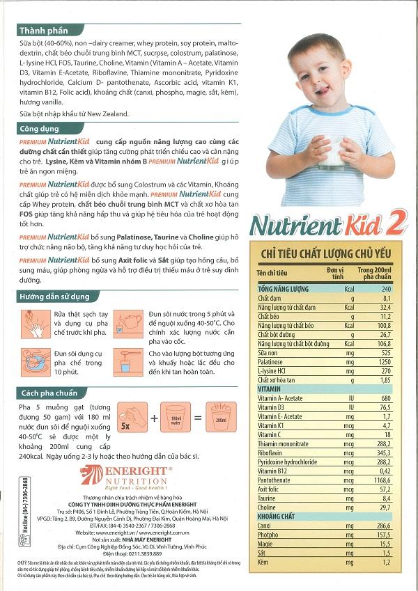 Cách pha sữa nutrient kid 2 700g