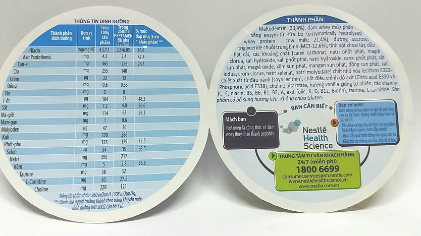 thông tin dinh dương sữa peptament