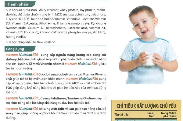 Thành phần dinh dưỡng sữa nutrient kid 2 700g