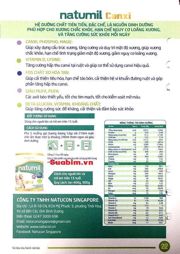 thông tin chi tiết về Sữa Natumil canxi