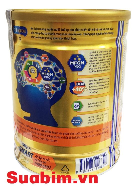 thông tin dinh dưỡng Sữa Enfagrow a+ 3 900g